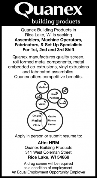 Assemblers, Machine Operators, Fabricators, Set Up Specialists