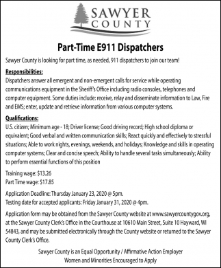Part-Time E911 Dispatchers