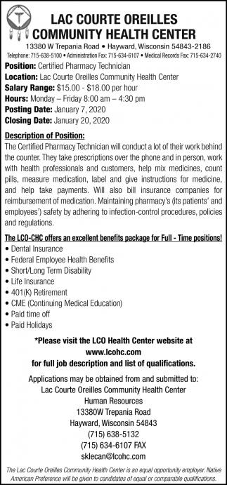 Certified Pharmacy Technician