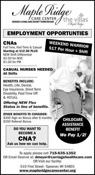 CNAs, Casual Nurses