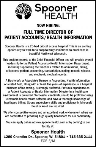 Director of Patient Accounts / Health Information