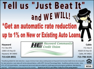 Get an automatic rate reduction up to 1% on New or Existing Auto Loans