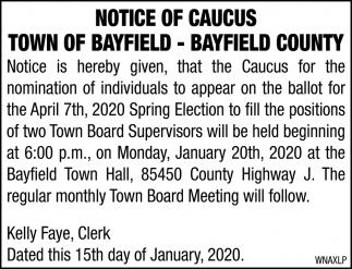 Notice of Caucus
