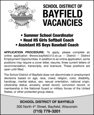 Summer School Coordinator, Head HS Girls Softball Coach, Assistant HS Boys Baseball Coach