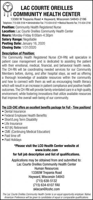 Community Health Registered Nurse