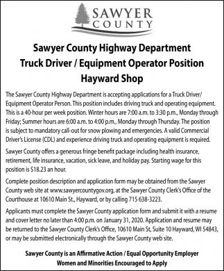Truck Dirver / Equipment Operator