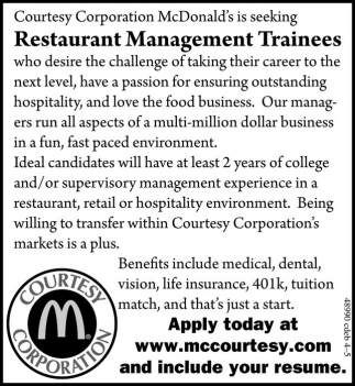 Restaurant Management Trainess