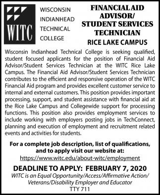 Financial Aid Advisor/Student Services Technician