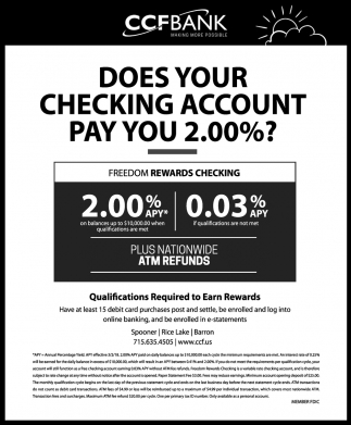 Does your checking account pay you 2.00%?