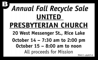Annual Fall Recycle Sale