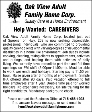 Help Wanted: Caregivers