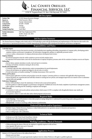 LCOFS Human Resources Manager