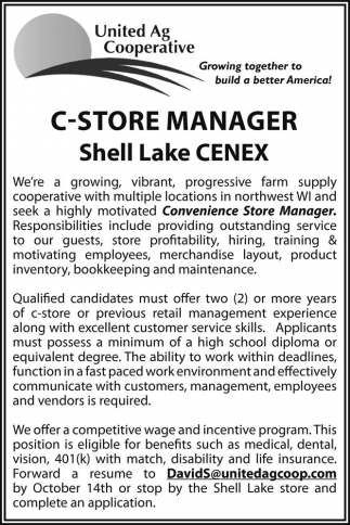 C-Store Manager Shell Lake CENEX