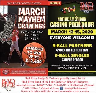 March Mayhem Drawings / Native American Casino Pool Tour
