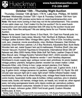 Thursday Night Auction