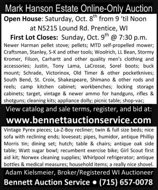 Mark Hanson Estate Online-Only Auction