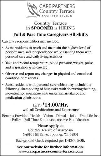 Full & Part Time Caregivers All Shifts