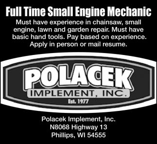Full Time Small Engine Mechanic