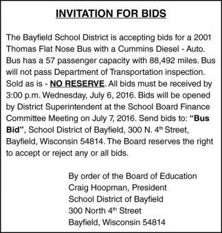 INVITATION FOR BIDS