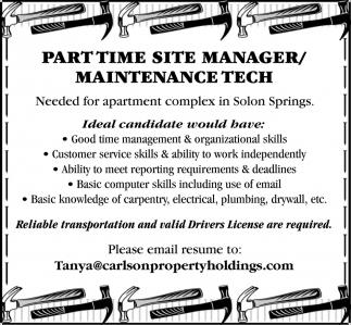 Part Time Site Manager/Maintenance Tech