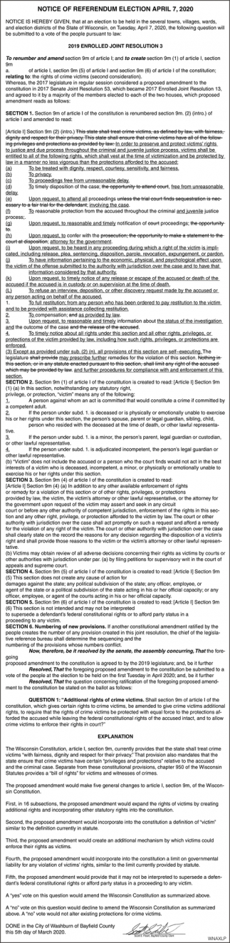 Notice of Referendum Election