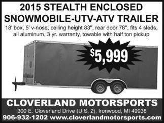 2015 Stealth Enclosed Snowmobile UTV-ATV Trailer