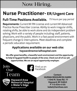 Nurse Practitioner-ER/Urgent Care