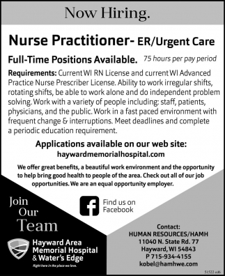 Nurse Practitioner - ER/Urgent Care