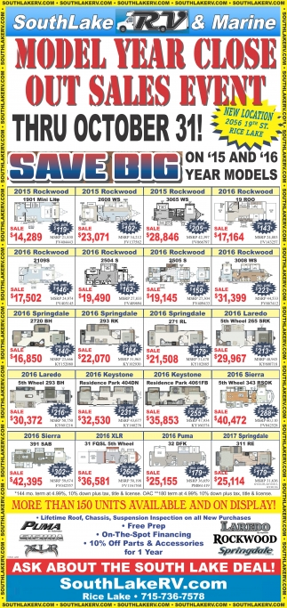 MODEL YEAR CLOSE OUT SALES EVENT