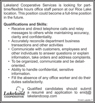 Part-Time staff person