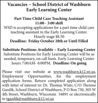 Child Care Teaching Assistant