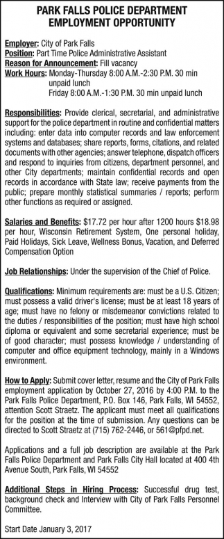 EMPLOYMENT OPPORTUNITY Park Falls Police Department