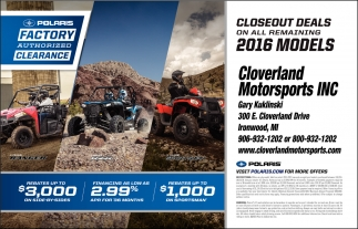 Closeout Deals on all remaining 2016 Models