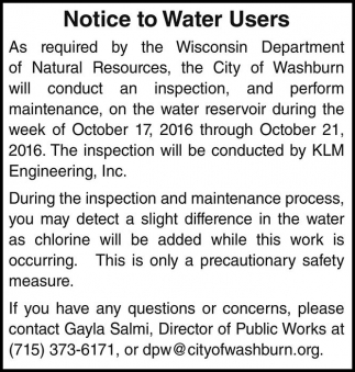 Notice to Water Users