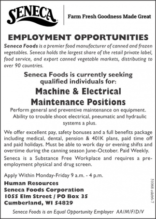 Machine and Electrical Maintenance Positions