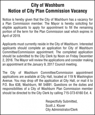 Notice of City Plan Commission Vacancy