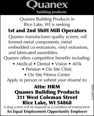1st and 2nd Shift Mill Operators