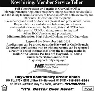 Member Service Teller