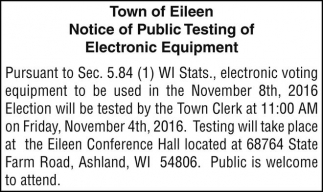 Notice of Public Testing of Electronic Equipment