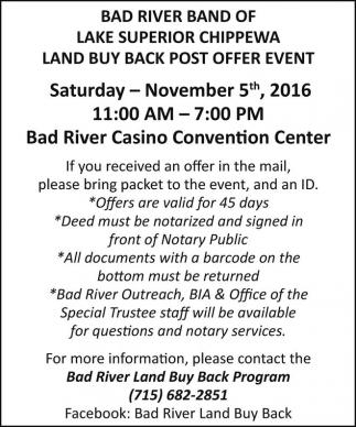 Land Buy Back Post Offer Event