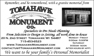 Remember, and be remembered, with a granite memorial from