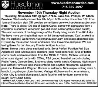 November 10th Thursday Night Auction