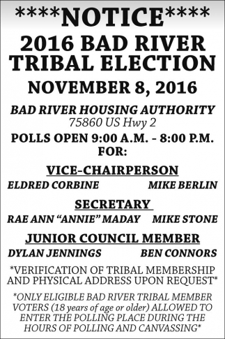 2016 Bad River Tribal Election