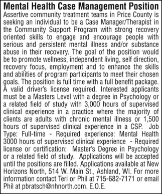 Mental Health Case Management Position