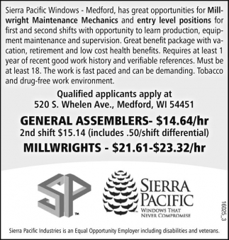 General Assemblers - Millwrights