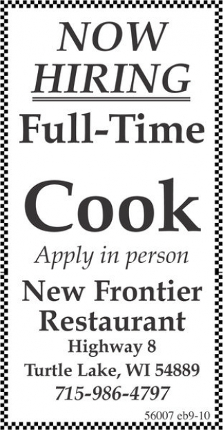Ads For New Frontier Restaurant In Turtle Lake Wi