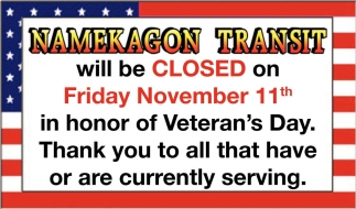 Closed Friday November 11th