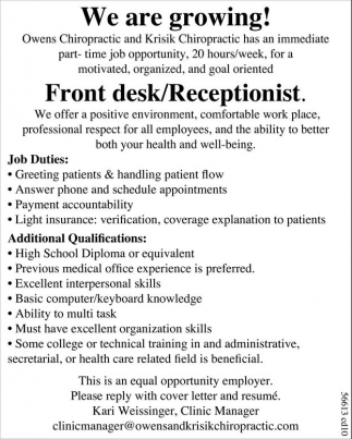 Front Desk Receptionist Owens And Krisik Chiropractic