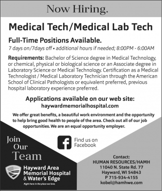 Medical Tech / Medical Lab Tech