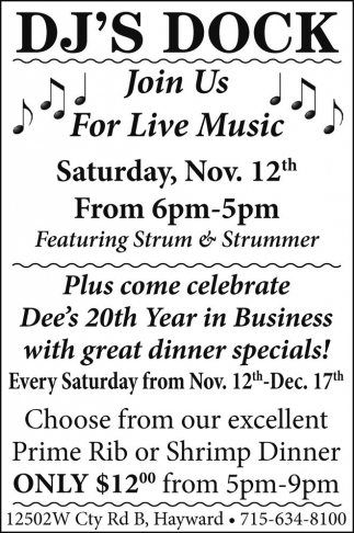 Live Music, great dinner specials!